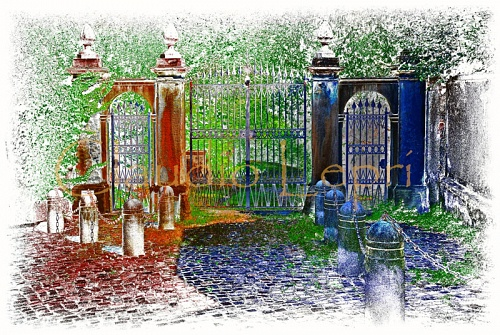 Colorful whimsical gate - Entrance gate with classical detail. I digitally manipulated my original photograph to create a colorful whimsical magic picture.